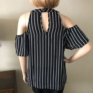 AUW Tops - AUW Black & White Stripe Cold Shoulder Top